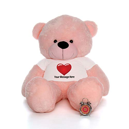 Giant Teddy Personalized Life Size 6 Foot Bear Cuddles with Red Heart T-Shirt (Cotton Candy Pink)]()