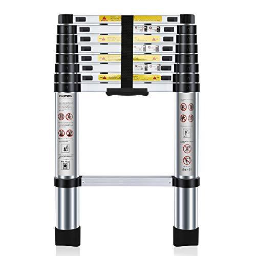 FUCUI Multi-Purpose Folding Extensionable Aluminium Telescoping Ladder (8.5ft / 2.6M)