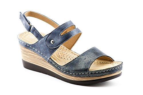 CALICO KIKI XIA-CK01 Women's Casual Peep Toe Velcro Ankle Strap Wedge Sandal Platform Shoes (8 US Navy) by CALICO KIKI (Image #6)
