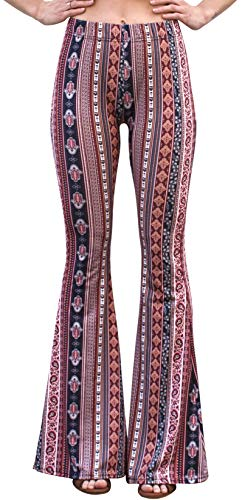 Daisy Del Sol High Waist Gypsy Comfy Yoga Ethnic Tribal Stretch 70s Bell Bottom Flare Pants (Small, Marsala)