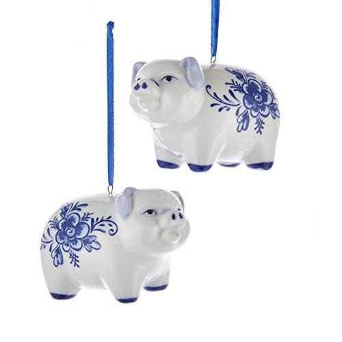 Kurt Adler Pig Delft Blue and White 3 inch Porcelain Ceramic Christmas Ornaments Set of 2 (Porcelain Pigs)