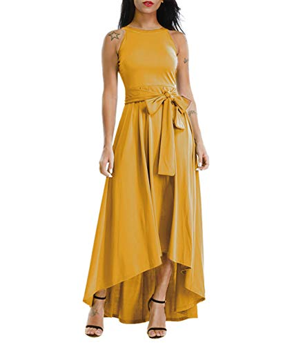 Lalagen Womens Plus Size Sleeveless Belted Party Maxi Dress with Cardigan Yellow -