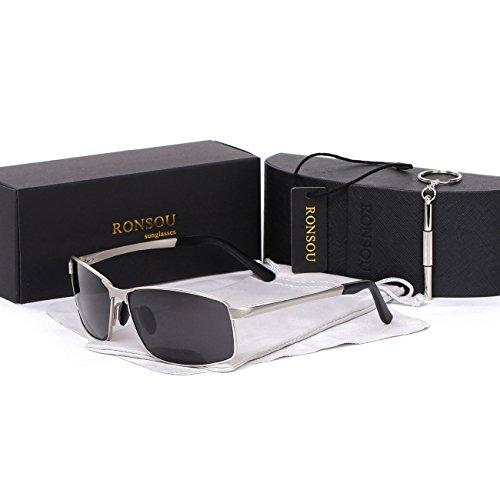 Ronsou Men's Retangular Polarized Sunglasses UV400 Eyewear Glasses For Driving Fishing Outdoor silver frame/gray - Heads Big Glasses Sun For