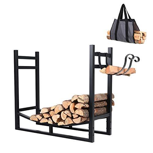 PHI VILLA Heavy Duty Firewood Racks Indoor/Outdoor Log Rack with Kindling Holder, 30 Inches Tall, Black (Firewood Indoor Rack Large)