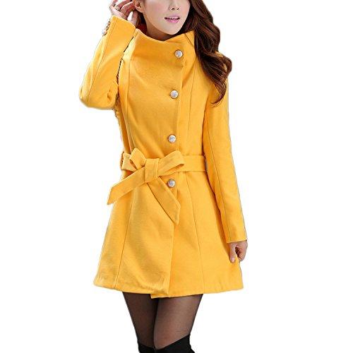 Abrigo para mujer de Nonbrabd, doble botonadura, chaqueta larga de invierno estilo vintage, tallas L M S XS amarillo