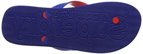 Superdry 97ABlack/Jaffa, Chanclas Hombre, Multicolor (Nautical Blue/Bright Red), 40/41 EU