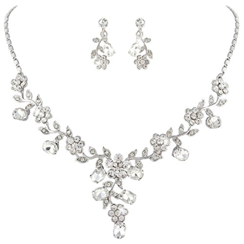 EVER FAITH Wedding Leaf Vine Necklace Earrings Set Clear Austrian Crystal Silver-Tone