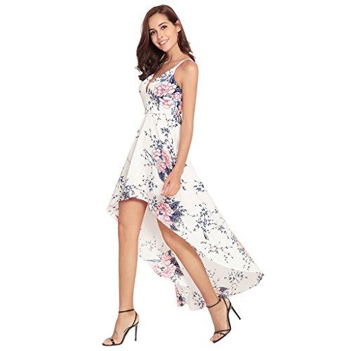 Sexy da V Abiti Holiday Dress a a vita Sling stampa Colore dimensioni Vestiti Bohemia donna Beige scollo estivi WANG Irregolare XL Bianca S alta XXL t8wF5nqCxt