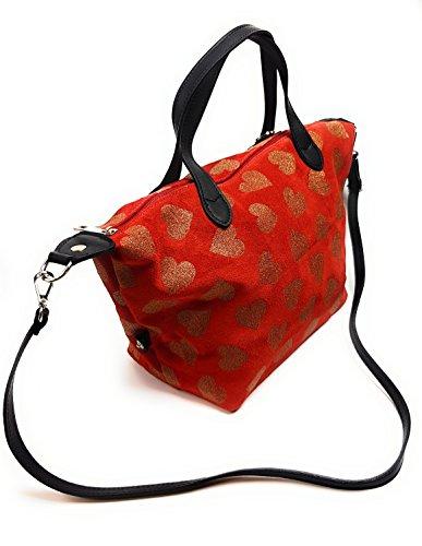 Damentasche - Henkeltasche LUCA LORENZO - Women Bag - Echtleder Tasche - Rot- Art. 352997