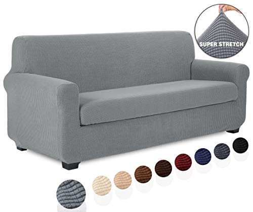 TIANSHU 2 Piece Sofa Slipcover, Stretch Couch Cover for Sofa, Stylish Jacquard Furniture Covers (Sofa, Light Gray) (Slipcover Gray Couch)