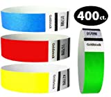 Goldistock Variety Pack 400 Ct - 100 Each Color - 3/4'' Tyvek Wristbands- Versatile Set A - Neon Green, Neon Blue, Neon Red & Neon Yellow - Event ID Bands (Paper - Like Texture)