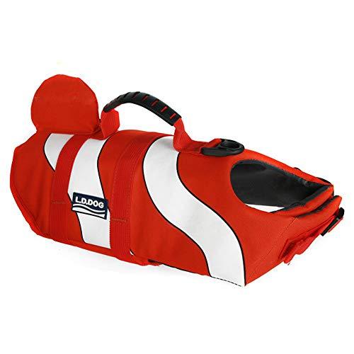 WLDOCA Dog Life Vest - Sporty Style - Tear-Off Material - Excellent Buoyancy & Safety Grip,Red,L