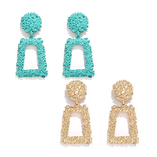 boderier Rasied Statement Earrings Women Vintage Chunky Metal Textured Geometric Square Drop Door Knocker Earrings Set (Gold and Blue)
