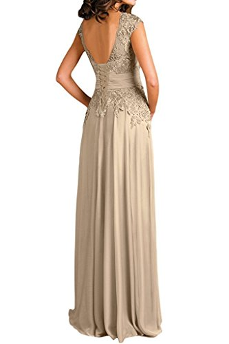 Ever V Deep Mother of Girl Sleeves Neck Women's Bride Champagne Cap Dresses Chiffon Long arwaqU