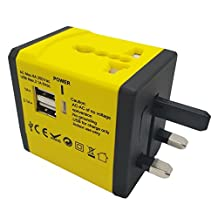 Global Travel Multipurpose Adapter,mobfun Univeral Travel Power 2USB Wall Charger with AC Socket with Convertible Plug Used in USA EU UK AUS Asia 150 Countries (Yellow)