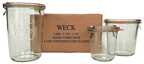 WECK Mold Jar Combo Pack-  900,  742,  743,  glass lids,  ru