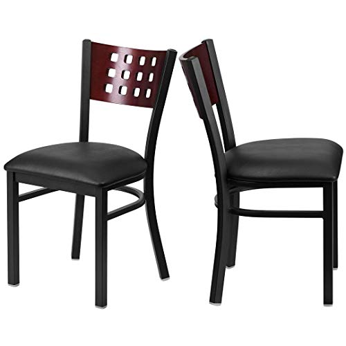 Modern Style Metal Dining Chairs Bar Restaurant Commercial Seats Mahogany Wood Cutout Back Design Black Powder Coated Frame Home Office Furniture - (1) Black Vinyl Seat #2206 by KLS14 (Image #4)