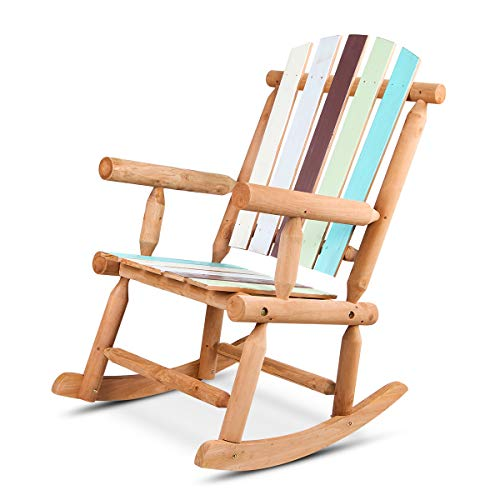 (VV Adirondack Rocking Chair Wooden Patio Log Rocking Chair Rustic Single Rocker with Weather Resistance in Colorful Painting)