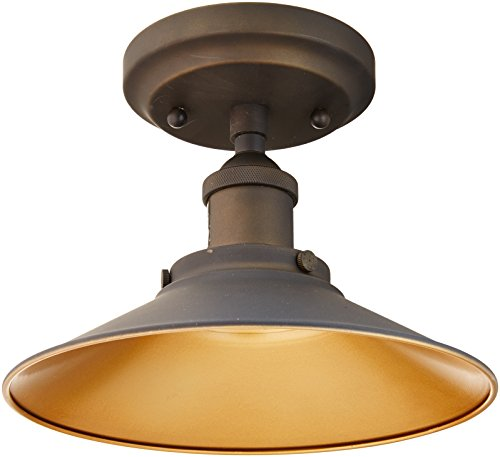 (Westinghouse Lighting 6336000 Louis One-Light Indoor Semi-Flush Ceiling Fixture, Oil Rubbed Finish and Metallic Bronze Interior)