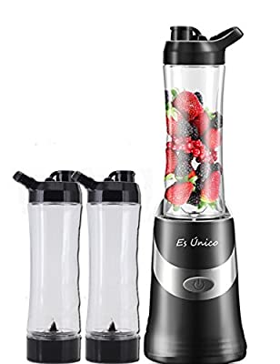 Personal Blender With Two Portable Bottles, Two Blades. 20oz Single Serve Blender,300 Watts, Leak Proof Travel Lid, 3 Year Warranty.