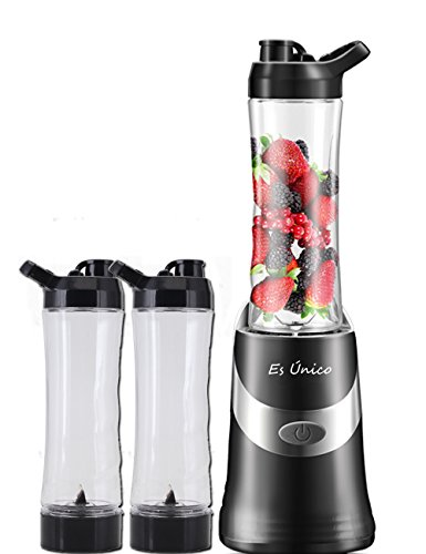 Personal Blender With Two Portable Bottles, Two Blades. 20oz Single Serve Blender,300 Watts, Leak Proof Travel Lid, 3 Year Warranty. (Black)