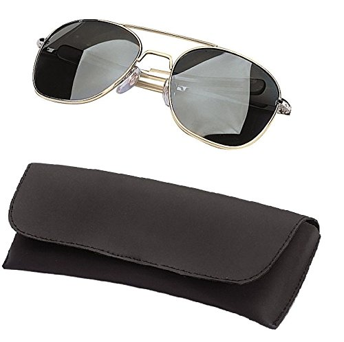 Gold With Smoke Lens 52 Mm Type Pilot Sunglasses With Bayonet Temp Air Force With Case