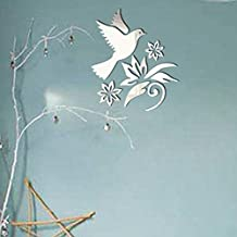 Wall Sticker,Makaor 3D Peace Dove Removable Mirror Wall Sticker Art Mural l Art Vinyl For Home And Room Decoration DIY (Size: 350mmx350mm, Silver)