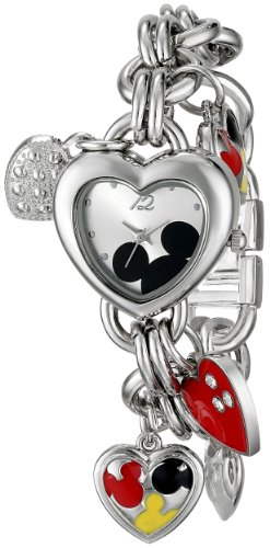 (Disney Women's MK2058 Mickey Mouse Silver-Tone Sunray-Dial Charm Bracelet Watch)