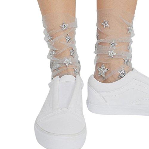 Inkach Kvinnor Glitter Stjärnan Mesh Strumpor - Trendiga Flickor Transparent Elastisk Ren Fotled Sock Grå