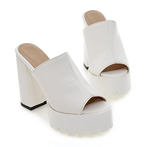 Sandales White Bloc Forme Talon Femmes Toe TAOFFEN Peep Plate à 1 Mules wq0Yv7H