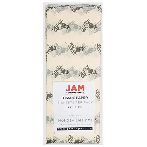 JAM PAPER Holiday Gift Wrapping Tissue Paper – Holiday with Ivory Sled Design – 8 Sheets/Pack