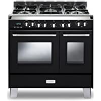 Verona VCLFSGE365DR 36 Classic Dual Fuel Range 2.4 cu. ft. & 1.5 cu. ft. Ovens European Convection 5 Sealed Gas Burners Cast-Iron Grates EZ Clean Oven Surface and Storage Compartment in Gloss Red