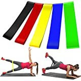 Jundy Resistance Bands Exercise Stretch Sports Loop Band Set of 5 Perfect for Home Gym Fitness Training, Legs, Glutes, Crossfit, Physical Therapy Rehab,Yoga, Pilates, Mobility and Strength Training