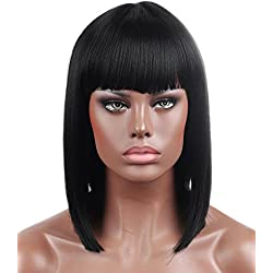 Kalyss Bob Short Hair Wig for Black Women Heat Resistant Yaki Synthetic Hair Brown Women's Wig With Hair Bangs (Black 1B)
