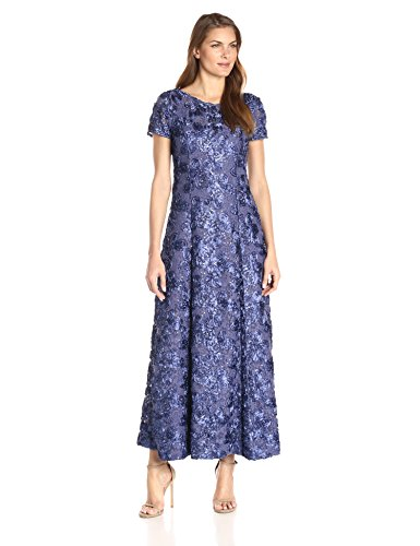 Alex Evenings Women's 6 Long A-line Rosette Dress with Short Sleeves Sequin Detail, Violet, 6