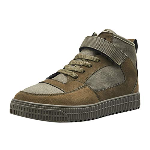 Haalife◕‿Men's Casual high top Platform Sneakers Athletic Casual Leather Shoes Fashion Ankle Booties for Men Green