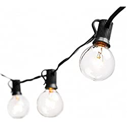 Deneve Globe String Lights G40 Bulbs, Black - Connectable Outdoor String Lights Garden Party Patio Bistro Market Cafe Hanging Umbrella Lamp Backyard Lights