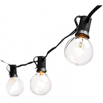 Deneve Globe String Lights with G40 Bulbs Connectable Outdoor Garden Party Patio Bistro Market Cafe Hanging Umbrella Lamp Backyard Lights 100% Guarantee on Light String (Black)