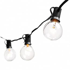 Globe String Lights with G40 Bulbs by Deneve – Outdoor Garden Party Patio Bistro Market Cafe Hanging Umbrella Lamp Backyard Lights 100% Guarantee on Light String (Black 25ft)