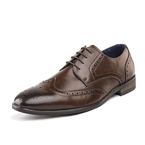 (Bruno Marc Men's HUTCHINGSON_3 Brown Wingtip Oxford Dress Shoes Size 10.5 M US)