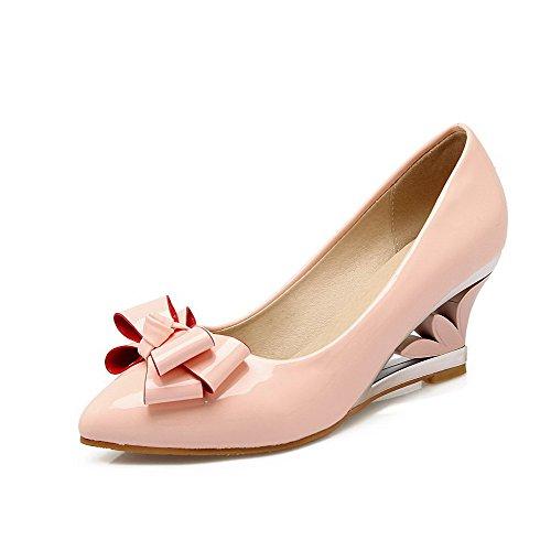 AllhqFashion Damen Rein Lackleder Mittler Absatz Spitz Zehe Ziehen auf Pumps Schuhe Pink