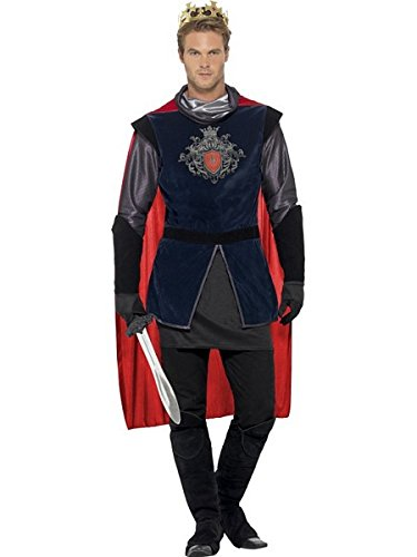 Smiffy's Men's King Arthur Deluxe Costume, Black L - US Size 42