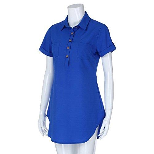 Manches Denim Bouton Solide Été Turn robe Mini Courtes À Adeshop Col S Mode Femmes Bleu Mini Casual Chic Chemises Élégant En Down Xl Robe 1 Taille HxzHqU8X