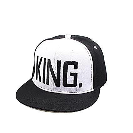 74d122a3b6c Amazon.com  jcspmall Letter King and Queen Adjustable Hat Baseball Cap Hats  Hip Hop Sports Snapback (White with Black King)  Home   Kitchen