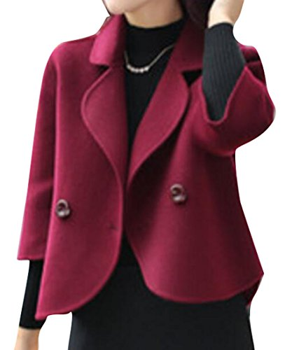SHOWNO Womens Lapel Solid Color Loose Blazer Suit Wool Blend Peacoat Outwear