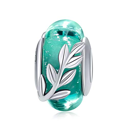 (Everbling Tree Leaves Green Leaf Green Murano Glass 925 Sterling Silver Bead Fits European Charm Bracelet)
