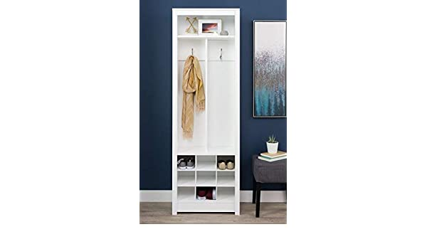 Amazon.com: Hall Trees with Bench and Coat Racks - White Wood with Partition and Nine Shoe Cubbies - Organizing Your Space with Sophistication: Home & ...