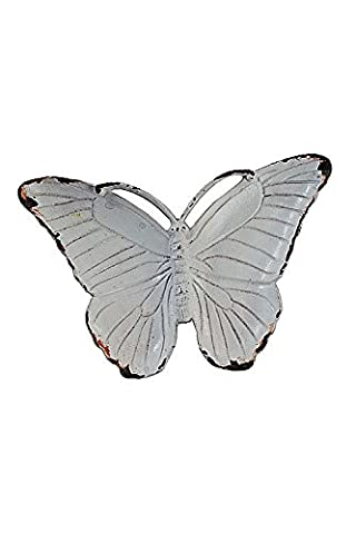 Oohlong Market, Pewter Butterfly Jewelry Dish in Antique White Finish (Butterfly Jewelry Dish)