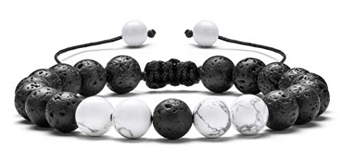 - Hamoery Men Women 8mm Lava Rock Aromatherapy Anxiety Essential Oil Diffuser Bracelet Braided Rope Natural Stone Yoga Beads Bracelet Bangle(Simulated Howlite)