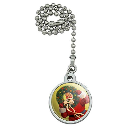 GRAPHICS & MORE Christmas Holiday Santa Wreath Ribbon Swirl Ceiling Fan and Light Pull Chain